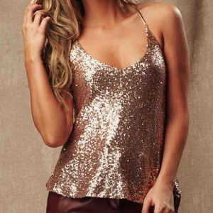 Tops - Gold Sparkly Sequin Top